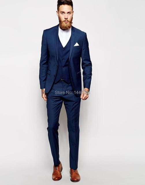 42d9cce5b77 Mejores Ventas de 2016 Por Encargo Azul de Los Hombres de Esmoquin Traje  Formal Slim Fit