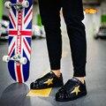 2016 Novos Homens de Moda Do Punk Rua Estilo Shell Toe Lacing Sapatos Sapatos de Skate Respirável Casuais Mans Calçado Chaussure Homme
