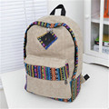 2016 New women ethnic style canvas backpackLady girl student school bag Travel laptop bag fashion backpack