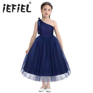 Image 1 - Crianças Meninas Um Ombro Bordado Floral Lace Bowknot Vestido Da Menina Flor Princesa Casamento Pageant Festa de Aniversário Vestido de Tule
