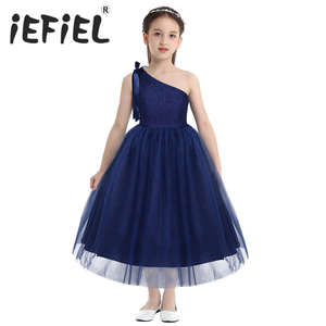 Image 1 - Kids Girls One Shoulder Embroidered Floral Lace Bowknot Flower Girl Dress Princess Pageant Wedding Birthday Party Tulle Dress