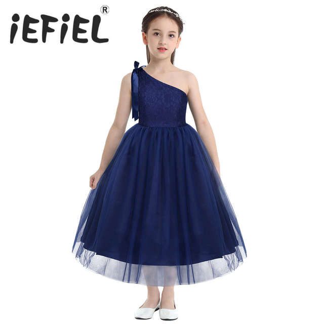 Kids Girls One Shoulder Embroidered Floral Lace Bowknot Flower Girl Dress Princess Pageant Wedding Birthday Party Tulle Dress