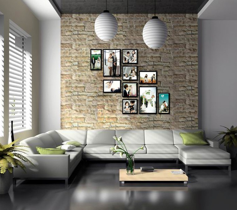 Free Shipping 10 Pcs Lot New Wooden Photo Frame Home Decoration Removable Wall Sticker