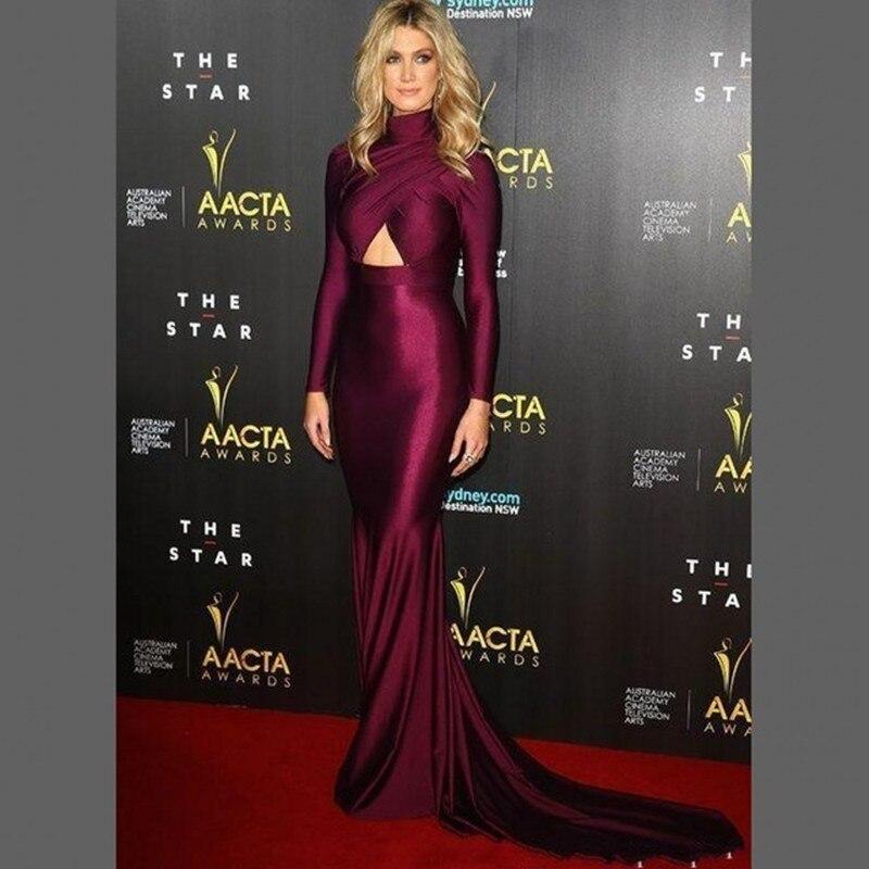 Celebrity-inspired Dresses Halle Berry Burgundy Annual Costume Designers Guild Awards Lace Red Carpet Dress Tulle Pleat V-neck Floor-length Evening Dress