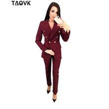 6402c0dfac57 TAOVK OL Vestito con pantaloni Doppio Petto Turn-down Colletto della Giacca  Sportiva top + Pantaloni 2 pezzi abiti per le donne .