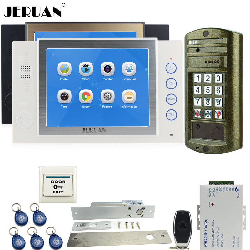 JERUAN 8 inch Video Door Phone Record Intercom System kit 2 Monitor + NEW Waterproof Password HD Mini Camera 8GB TF Card 1V2 jeruan 8 inch tft video door phone record intercom system new rfid waterproof touch key password keypad camera 8g sd card e lock