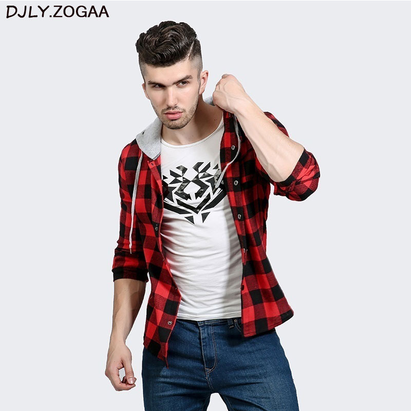 Men Plaid Casual Shirts Long Sleeve Hooded Slim Shirts Cotton Fit Styles Brand Man Clothes Plus Size Autumn Warm Plaid Tops