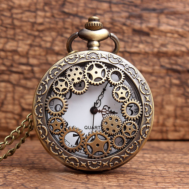 2015 New Hollow Gears Machinery Style Quartz Pocket Watch Men women Vintage Bron