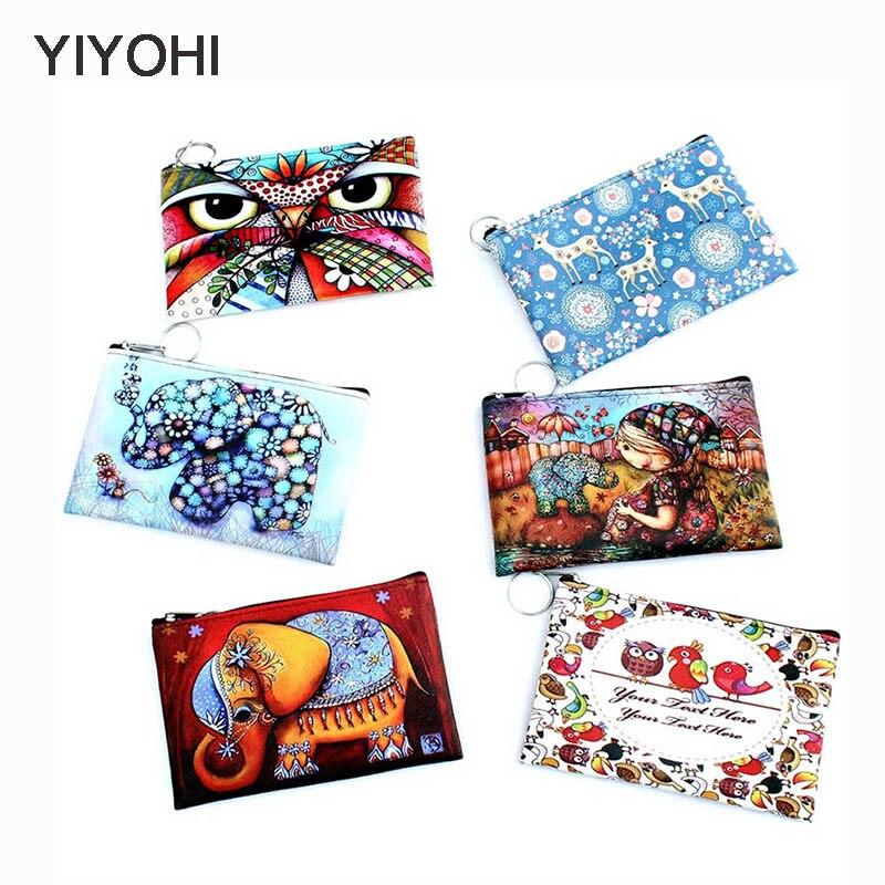 YIYOHI New giraffes Print Owl / Elephant coin purse Female Zipper PU coins bag wallet pouch Ladies clutch change purse Key Chain