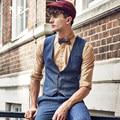 Марка Мужчины Clothing2016Autumn повседневная Англия мужчины костюм жилет жилет мужская формальная свадьба жилет slim fit жилет цвета плюс размер
