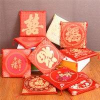 4 pc/lot Lavable siège coussin Chinois style de mariage Joyeuse 43*43 cm Chaises coussin décor à la maison canapé mélange rouge de mariage siège coussin