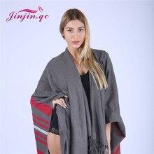 Фотография Jinjin.QC Unisex Tassel Ponchos Acrylic Shawl Poncho For Women Autumn Winter Knitwear Men capes striped echarpe femme