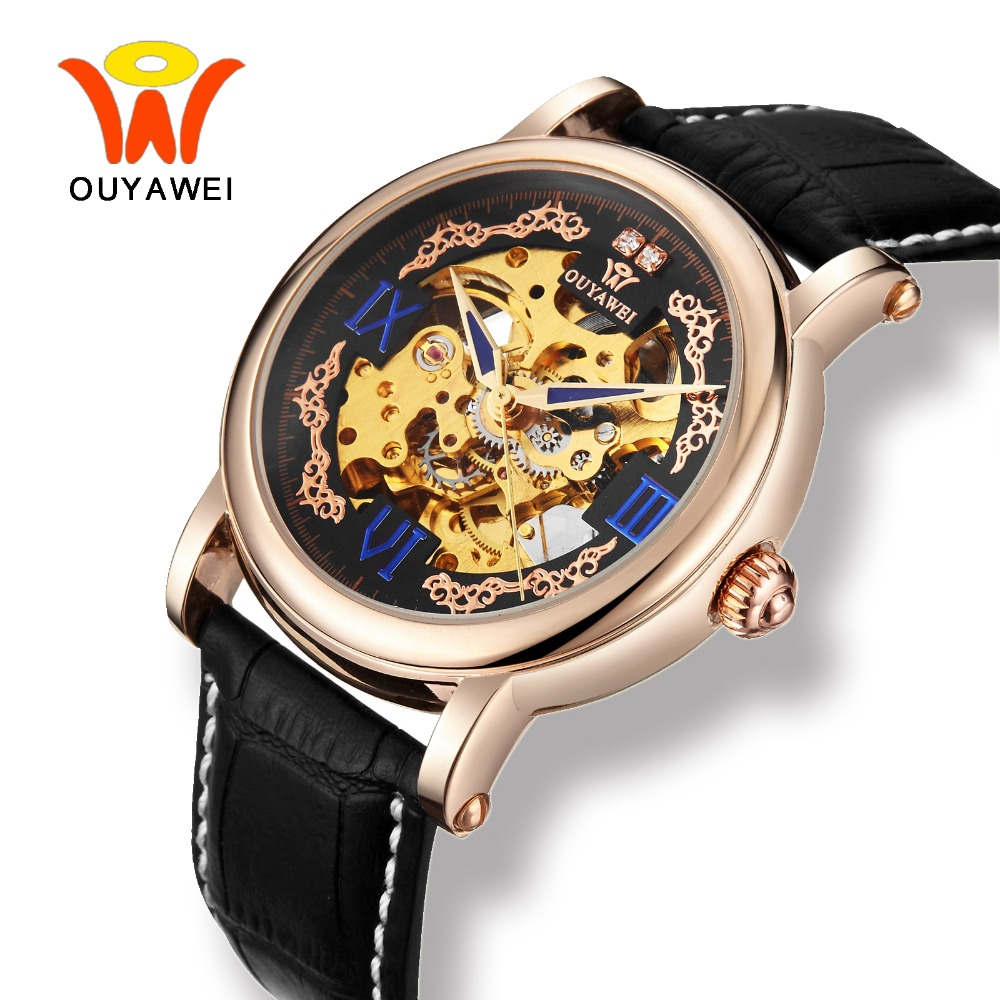 Ouyawei 2017 Black Leather Automatic Self Winding Watches Men Skeleton Mechanical Luxury Rose Gold 40MM Case Blue Hands Watch tevise fashion auto date automatic self wind watches stainless steel luxury gold black watch men mechanical t629a with tool