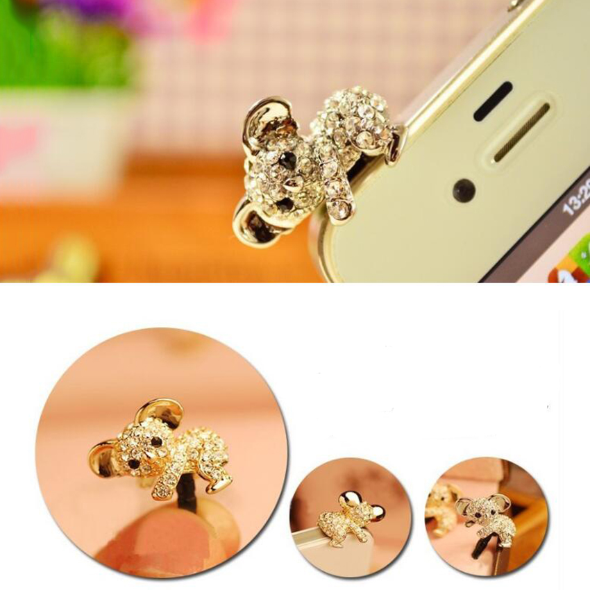 New Cute Diamond Cat Pattern Koala Anti Dust Plug For Phone Accessories Earphone Jack For Iphone Samsung Xiaomi