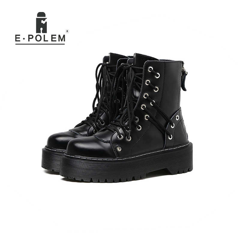 c730c7561248 Genuine Leather Punk Boots Rock Martin Boots for Women Black 4CM Platform  Thick Sole Female Round