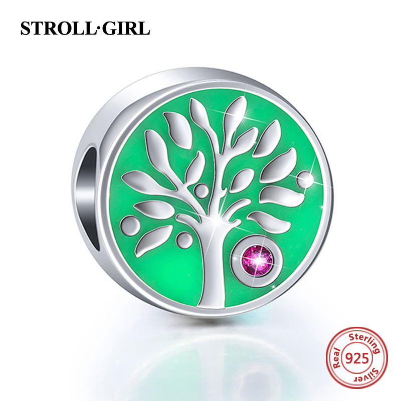 Fit Authentic pandora Bracelet Silver 925 Green Yellow Color enamel Family tree Charms Beads Sterling-silver-Jewelry for gifts