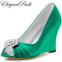 Giày phụ nữ Màu Xanh Lá Cây Cao Gót Peep Toe Clips Wedges Satin Phù Dâu Wedding Bridal Shoes Prom Evening Bơm WP1547 hồng Hoa Oải Hương