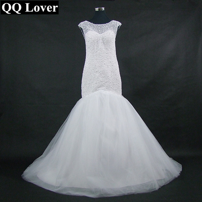 QQ Lover 2019 New Luxury Pearls Beading Mermaid Wedding Dress Custom-Made Plus Size Bride African Wedding Gown