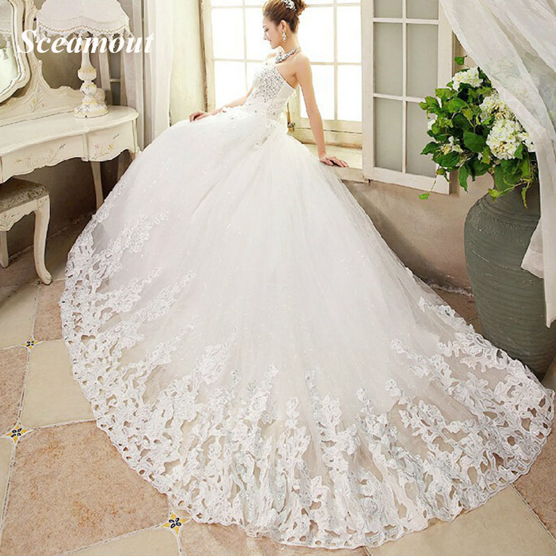 New Bride Princess White Lace Luxury Crystal Wedding Dress Sexy Strapless Sequins Long Tail Wedding Gown Vestido De Noiva