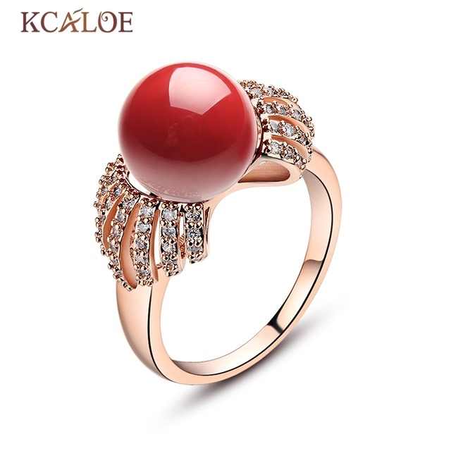 KCALOE Red Simulated Coral Rings Cubic Zirconia Crystal Round Ball Rose Gold Color Women Natural