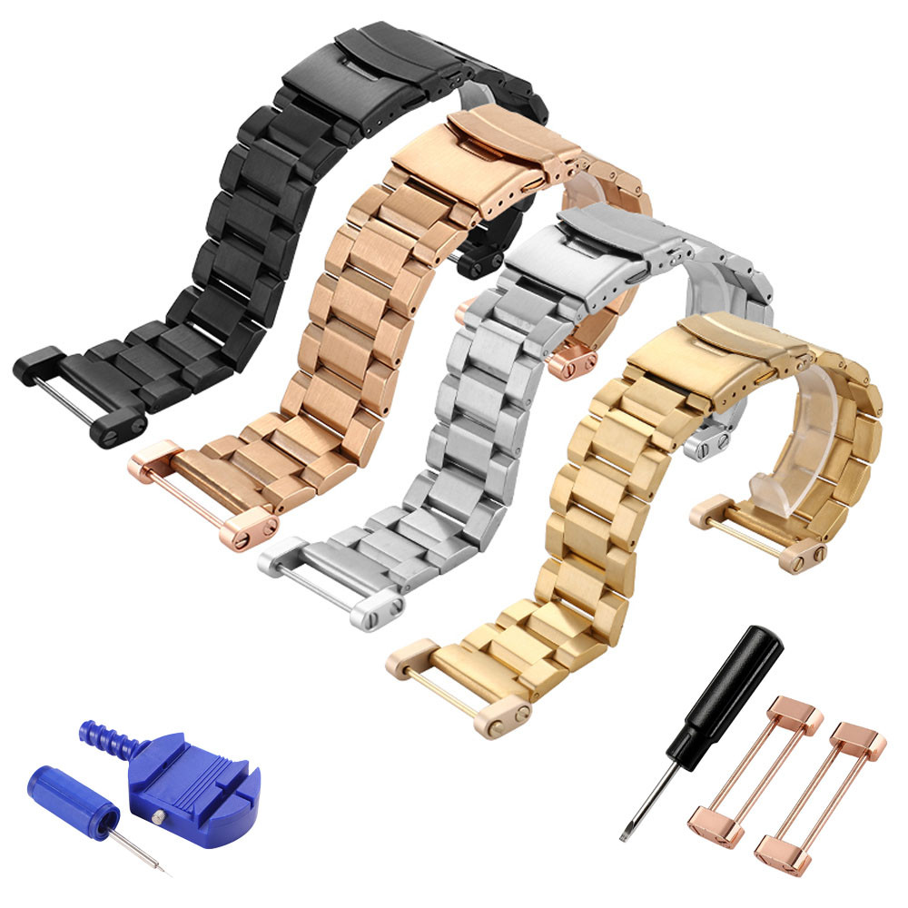2018 New Fashion Gold Watchbands 24mm black Stainless Steel Quick Release Watch Band Strap+ Lugs Adapters For Suunto Core Strap suunto core brushed steel black leather