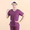 New Arrival women hospital medical uniform scrub dental clinic beauty salon working uniform Women's V-Neck Lab Coat purple color