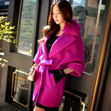 Original 2016 Brand Autumn Winter Warm Jacket Fur Collar Plus Size Elegant Purple Red Batwing Sleeve Wool Coat Women Wholesale