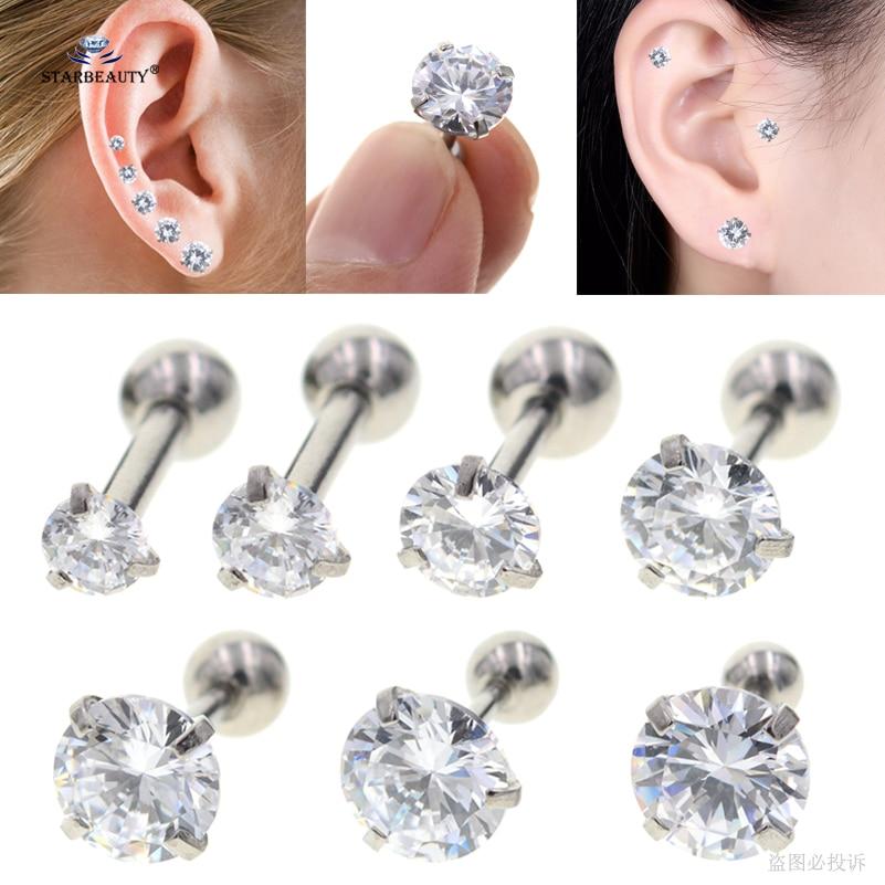 2pcs/lot 16G 2~8mm Sparkling Bijoux Stud Earrings Tragus Piercing Helix Piercing Clear Zircon Ear Jewelry Pircing Suit any Age Пирсинг