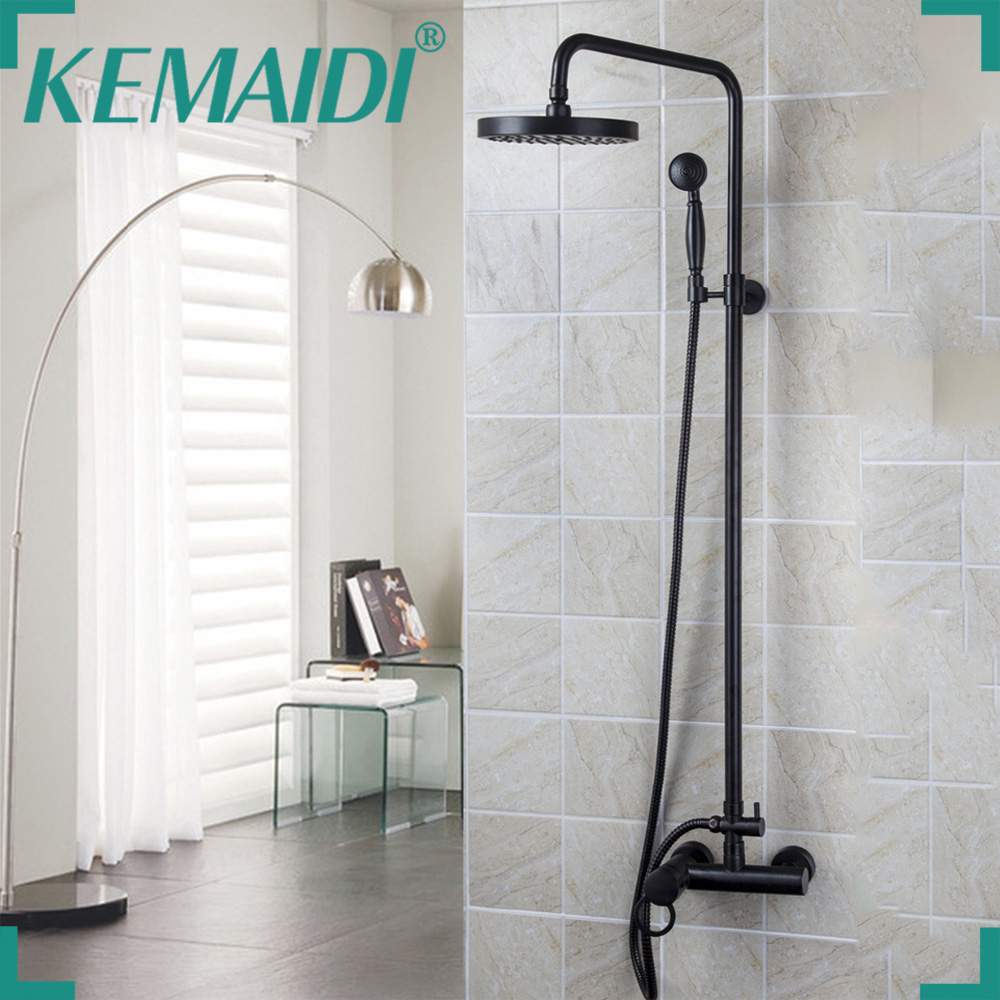Bathroom Shower Set Oil Rubbed Bronze Wall Mounted Shower Faucet 8 Shower Head Mixer Tap Water Shower Set Waterfall Rain Faucet black oil rubbed bronze bathtub faucet with handheld shower head bathroom wall mounted dual ceramic handles mixer tap wtf017