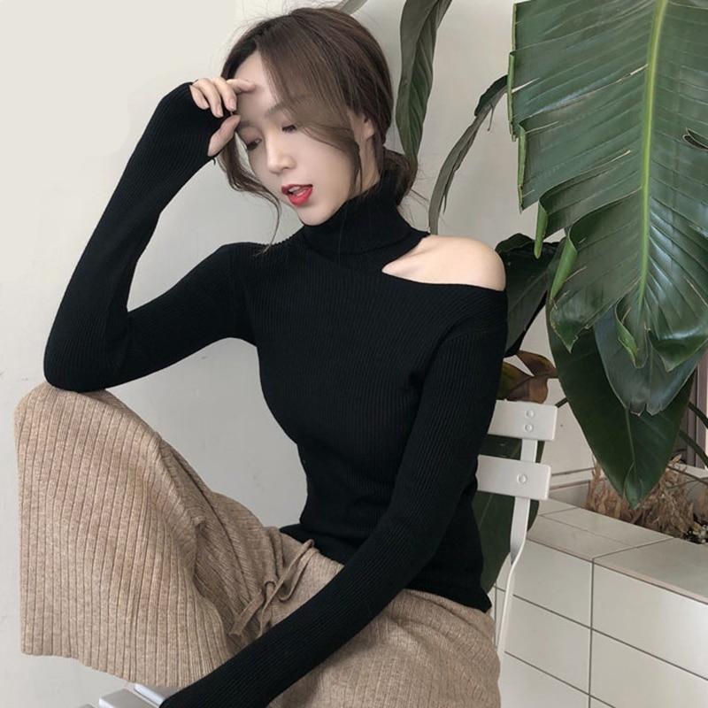 2019 Women Sweater Autumn Winter New Sexy Shirt Korean Version Slim Fit Pullover Sweater Hollow Open Neck Turtleneck Sweater