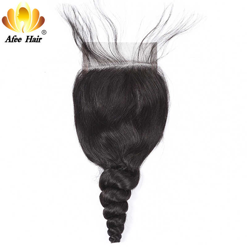 AliAfee Brazilian Loose Wave Lace Closure With Baby Hair 4*4 Remy Human Hair Closure 130% Density 8''-20'' Free Shipping