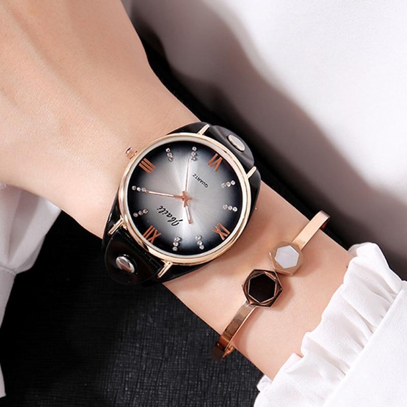 Zegarek damski Ladies Watch Women Simple Rhinestone Elegant Leather Strap Wristwatch Women Quartz Watch Clock Relogio Feminino цена