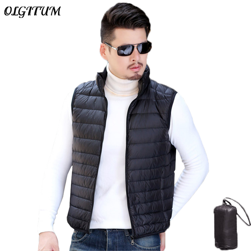 Portable Duck Down Vest For Men Casual 90% Ultra Light Duck Down Vest High Quality Sleeveless Coat Slim Warm Windproof Waistcoat