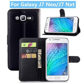 da276f7e97c Nuevo para Samsung Galaxy J7 Neo J701M Flip caja de teléfono de cuero para Samsung  J7