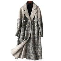 Модные шерстяные и yakwool лоскутное двойной уход за кожей лица шерстяные пальто для женщин средней длины Зубчатый воротник расшитая бисером в