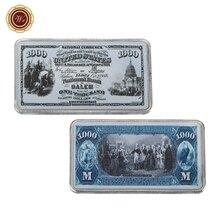 WR 1875 год 999,9 Посеребрённый одежда в американском стиле для Цвет 1000 долларовая валюта законопроект для пометки банкнот Примечание Стиль поддельные баров