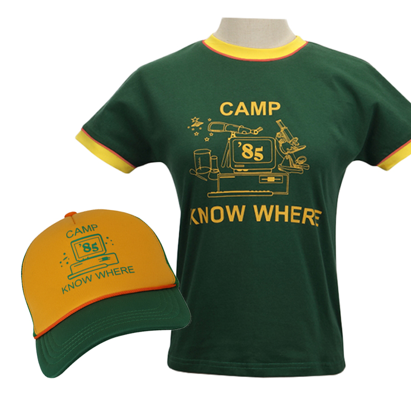 Stranger Things 3 Dustin Cosplay Costumes Kids Adult CAMP KONW WHERE Handsome Cotton T-shirt Hat Sunscreen Travel Outdoor Suit