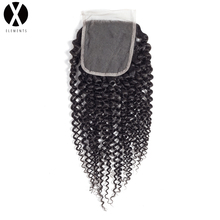 X-Elements 4 * 4 Lace Closure Non-Remy Kinky Krøllet Hår Vævner Peruvian Human Hair Extensions Natural Color