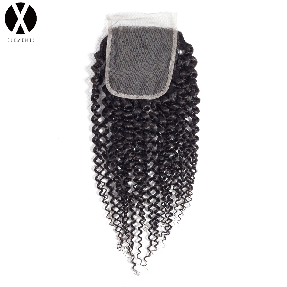 X-Elements 4*4 Lace Closure Non-Remy Kinky Curly Hair Weaves Peruvian Human Hair Extensions Natural Color