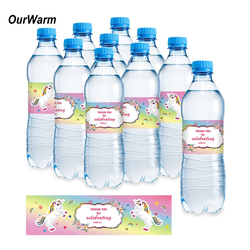 OurWarm Unicorn Party Decorations 24pcs Water Bottle Sticker Labels for Baby Shower Unicorn Theme Kids Birthday Party Supplies