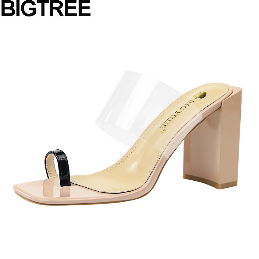 BIGTREE 2018 Sexy Women Ring Toe PVC Mules Clear Transparent Strap Slippers Elegant Square Thick Block High Heel Sandals Shoes sexy big stars sandals style pvc clear transparent back strap high heel sandals plus size custom stilettos women shoes