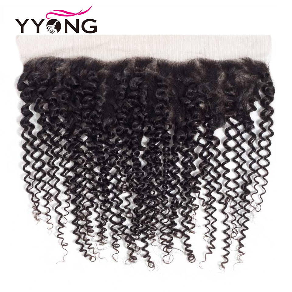 Yyong 3  Hair Bundles With Frontal  Kinky Curly   Pre Plucked Lace Frontal Closure With Bundles 13x4 5