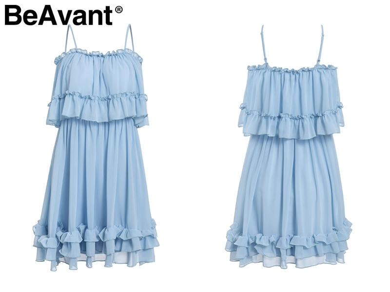 HTB1RaBcQmzqK1RjSZFjq6zlCFXa2 - BeAvant Off shoulder strap chiffon summer dresses Women ruffle pleated short dress pink Elegant holiday loose beach mini dress