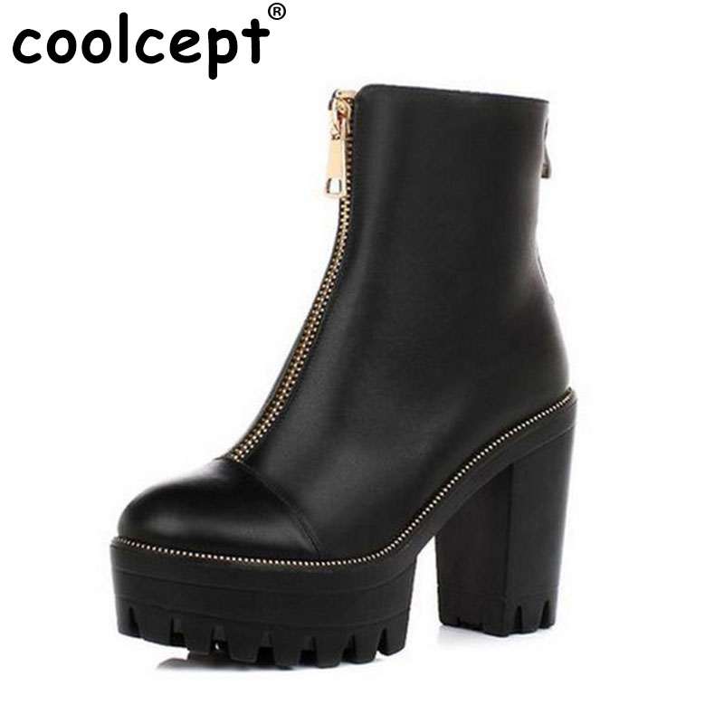 Coolcept Women High Heel Ankle Boots Half Short Botas Winter Ladies High Heeled Shoes Woman Boot Footwear Shoes R4572 Size 34-39