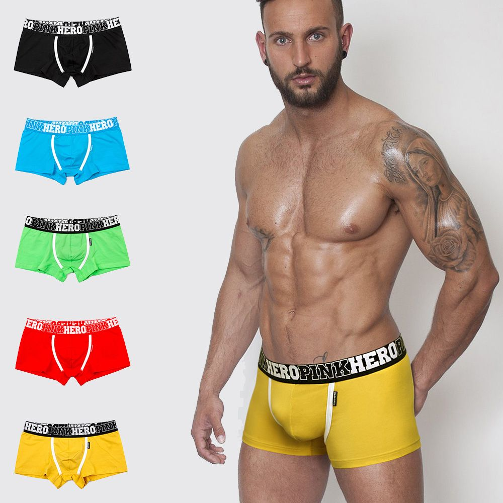 Fashion Men's Breathable Boxershorts Plus Size   Shorts   Cotton Underwear Fashion Sexy Boxer Solid Beach Brief 5 Colors