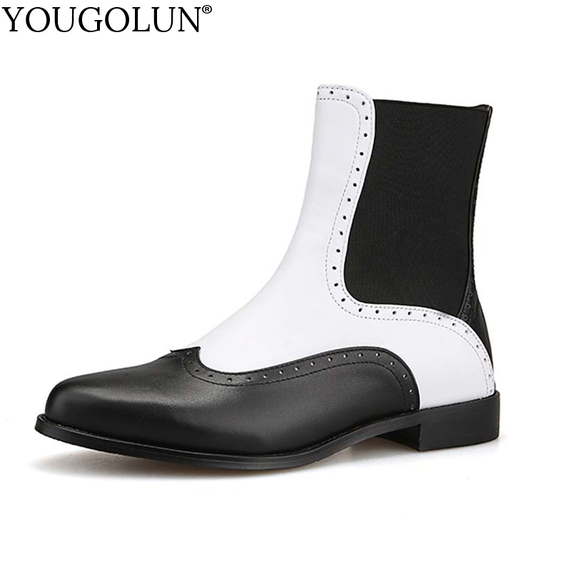 YOUGOLUN Women Ankle Boots Genuine Leather 2017 New Autumn White Black Pattern Pointed toe Low Heel Square Heels Shoes #Y-143 fashion hot sale genuine leather low heels pointed toe rivets buckle square heel autumn winter women ankle boots