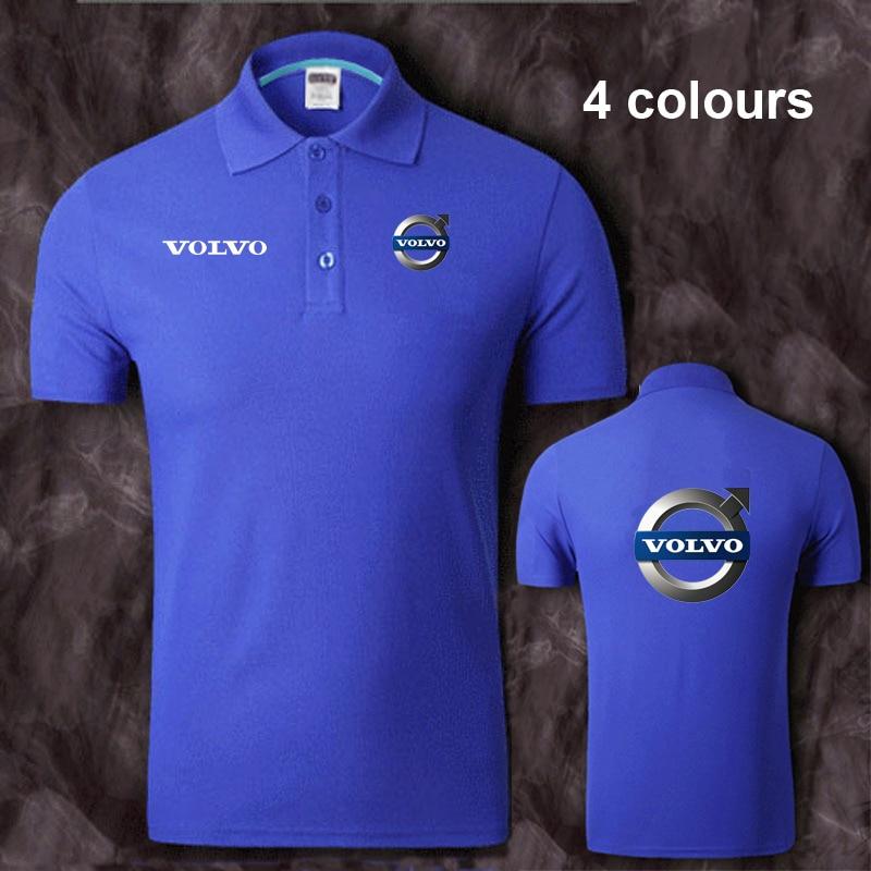 Cotton Volvo logo   Polo   Shirt Mens Short Sleeve Summer Casual Solid   Polo   Shirts   Polos