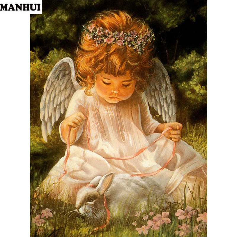 New 5D DIY Diamond Painting little angel and rabbit ...