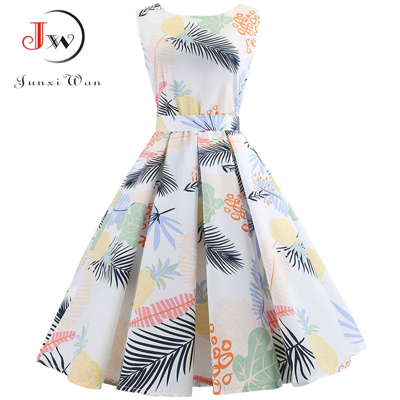 Women Sexy Summer Dress Sleeveless Vintage Elegant Floral Print Dresses Plus Size Casual Autumn Midi Party Dress Jurken