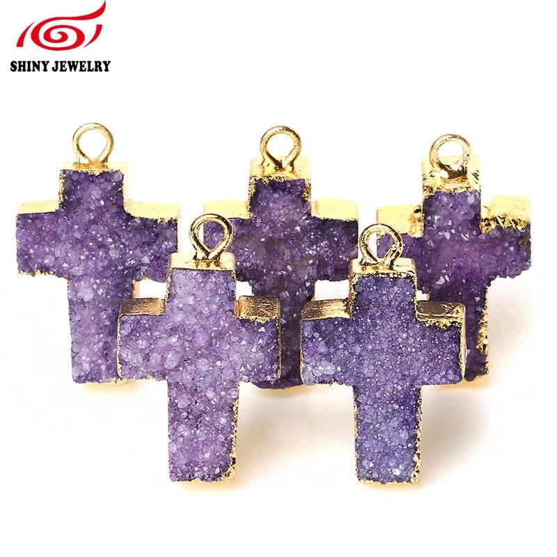 2016 Nova moda Prirodni kristalni druzy kameni križ privjesak za izradu nakita 5pcs / lot Veleprodaja sirovih ametista Charm Privjesci